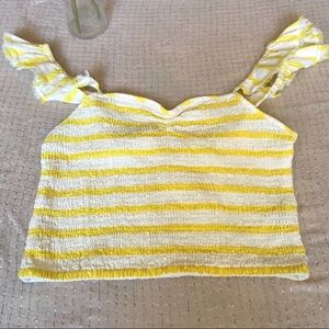 Free People Yellow White Flutter Strap Crop Top